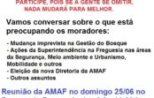 Reunião da AMAF no domingo 25/06 às 9:00 no Bosque da Freguesia